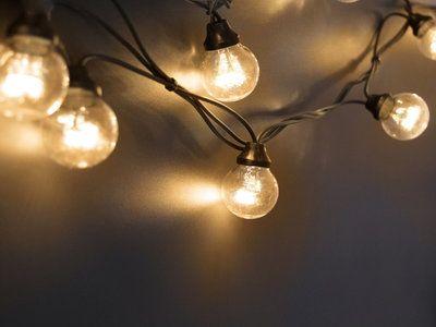 Guirlande extérieure guinguette 10 LED avec filament blanc chaud longueur 5m Tradition Câble noir