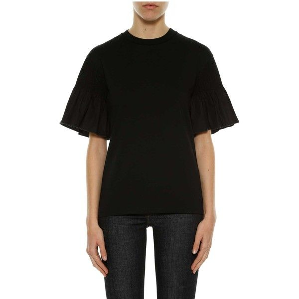 Victoria Victoria Beckham Smocked Sleeve Top ($200) ❤ liked on Polyvore featuring tops, black, smocked top, sleeve top and smock top