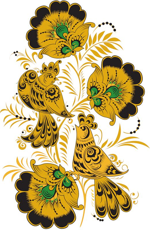 Folk Khokhloma painting from Russia. Floral pattern with two birds. #art #folk #painting #Russian