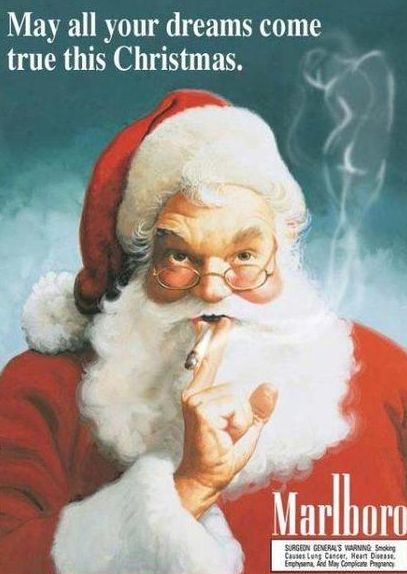 Marlboro, c. 1940's. Think Old St. Nick ever accidentally caught his beard on fire??