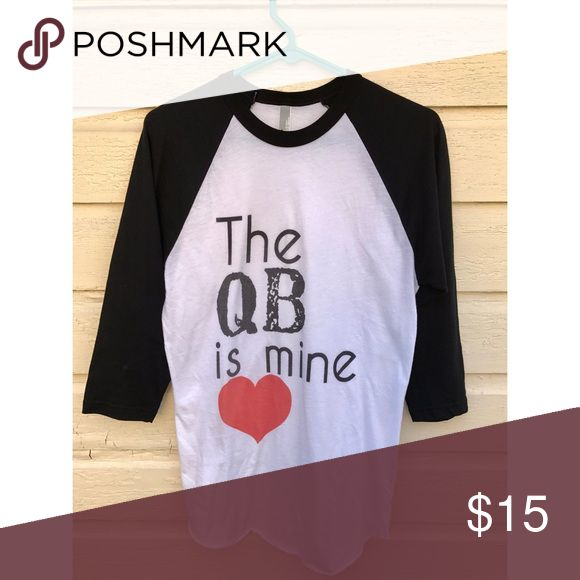 The Quarterback is Mine tee Loved this ★★ great for supporting you're bae! I graduated a couple years ago and just sits in my closet 🏈🏈 perfect for the quarterbacks girlfriend!! Worn only a few times!  ••••••TAGGING PINK FOR VIEWS•••••• PINK Victoria's Secret Tops