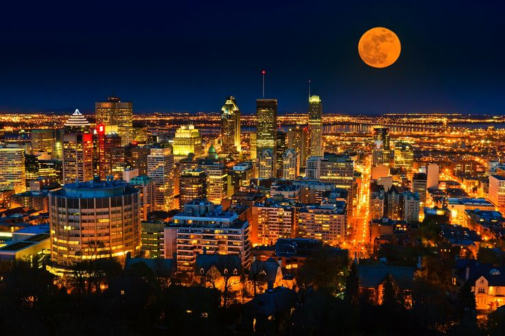 MONTREAL SKYLINE AT NIGHT | Montreal Skyline and Supermoon Composite