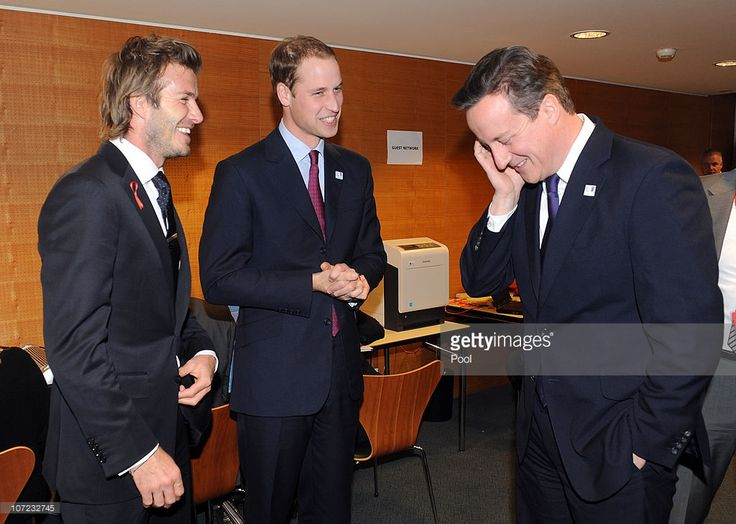 England 2018 Bid Ambassador David Beckham, Prince William and British Prime Minister David Cameron during a reception at the Steigenberger hotel a day before the FIFA 2018 and 2022 World Cup Bid Announcement on December 1, 2010.