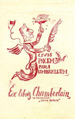 FINGESTEN-Ex-libris-Chamberlain-English-Prime-Minister