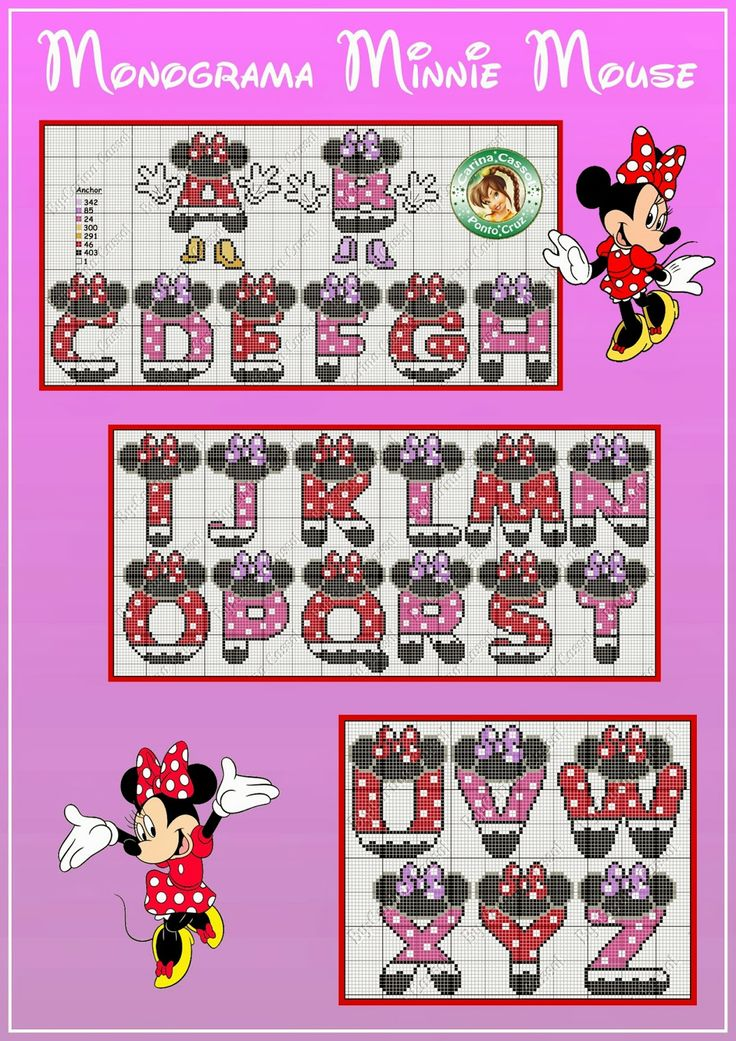 Free Minnie Mouse Cross Stitch Chart - would be so cute to make a name sign for Jill's room!