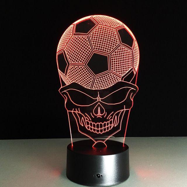7 Colors Change 3d Football Skull Led Lamp Avec Images Lampe De Bureau Bureau Colore Led