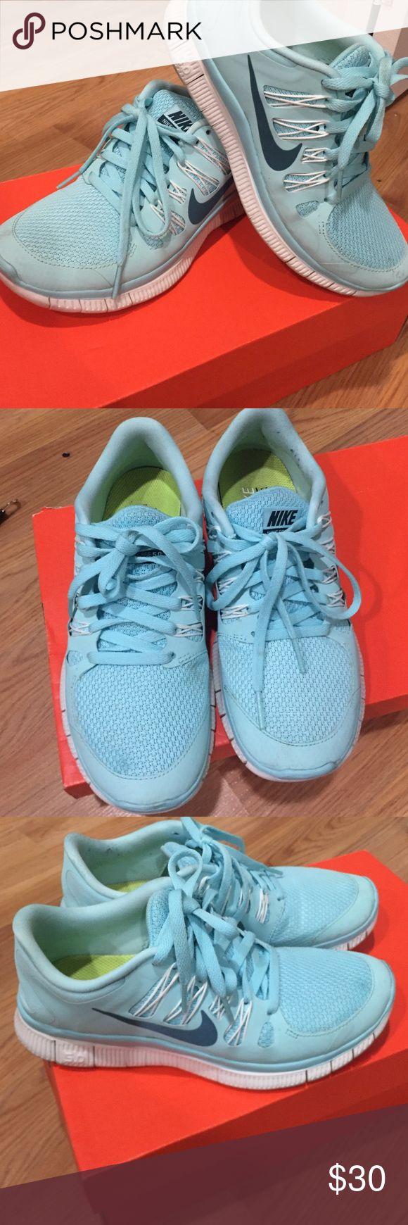 Light Blue Nike Free Run 5.0 Light blue/Tiffany Blue Nike Free Run 5.0 Used but fairly clean. Nike Shoes Sneakers