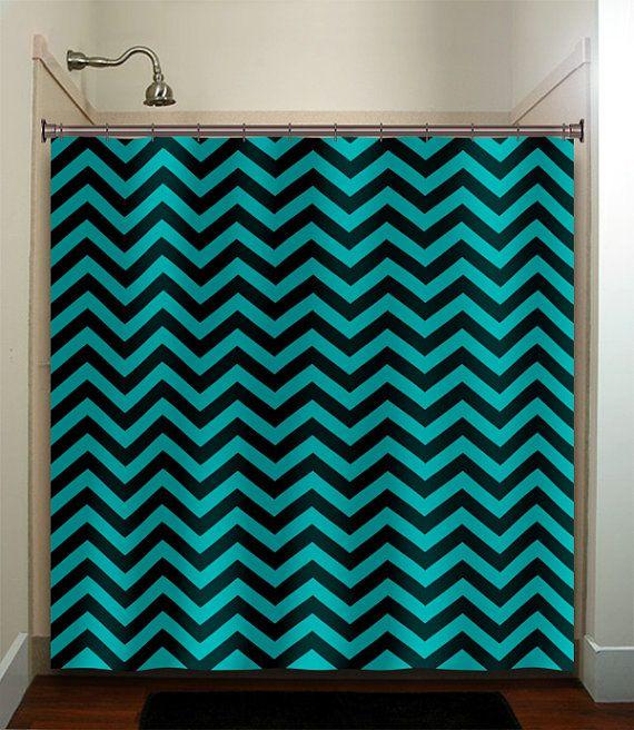 Turquoise Aqua Chevron Shower Curtain Bathroom Decor Fabric Kids Bath White Black Custom Duvet Cover Rug Mat Window