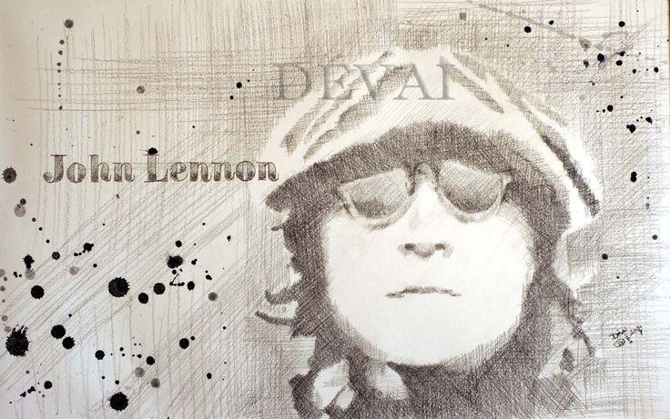 Grafik: Alex Devai Black HB5 Pencil, aquarell John Lennon