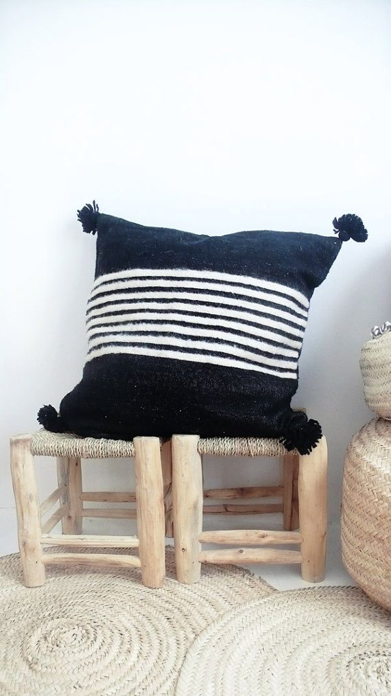 Large Moroccan POM POM pillow cover - wool black with stripes