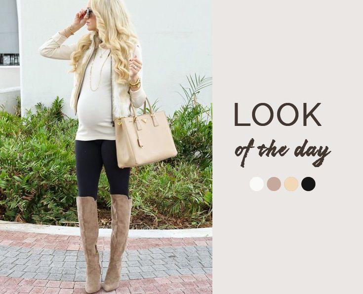 Стильная беременность, цветовая палитра бежевый и черный