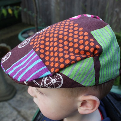 Kids Organic Flat Cap    **Echino fabric can be bought on  http://www.modes4u.com/en/kawaii/p6289_echino-canvas-designer-fabric-bicycle-purple-from-Japan.html