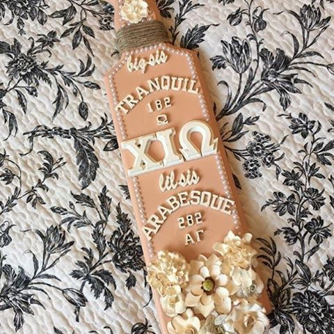 Our customer Alyssa from Chi Iota Omega got a great paddle from her little that she shared with us! Call and order your paddle at 1-800-247-3352! #big #little #paddle #somethinggreek