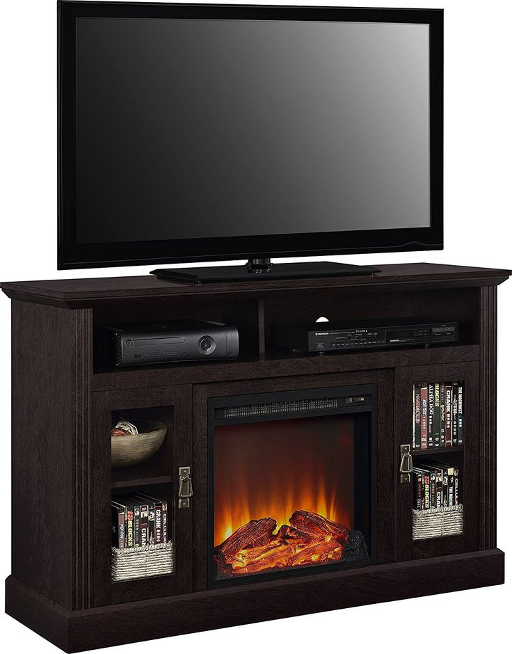 """Amazon.com: Ameriwood Home Chicago Electric Fireplace TV Console for TVs up to a 50"""", Espresso: Kitchen & Dining"""