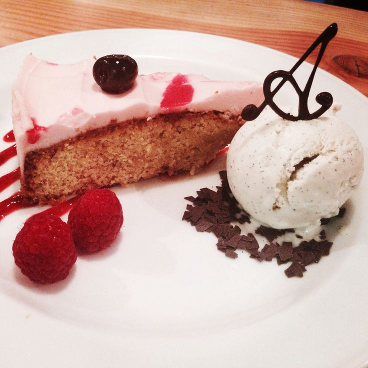 Cherry and almond polenta cake served with vanilla gelato. Available from 10.30am