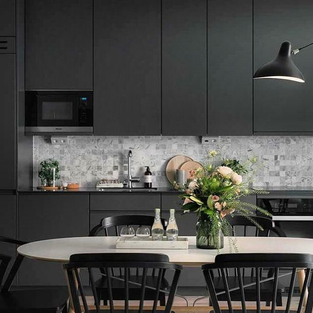 Gun Metal kitchen cabinets