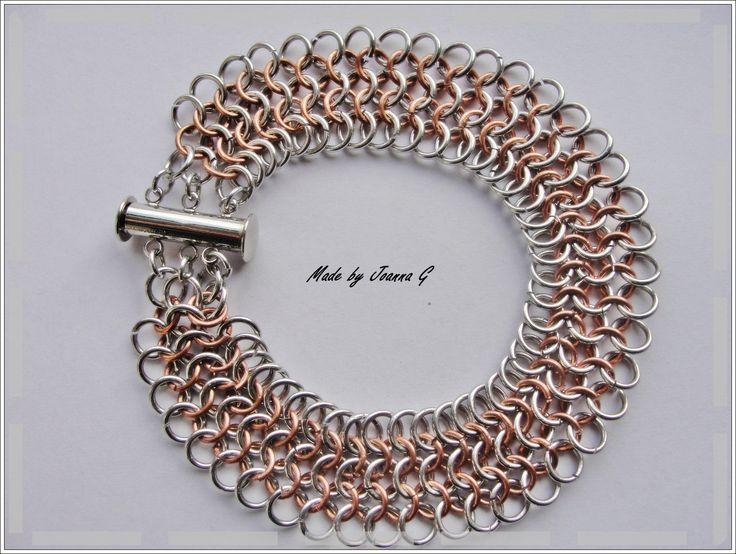 Bransoletka chainmaille, wykonana z Bright Aluminium