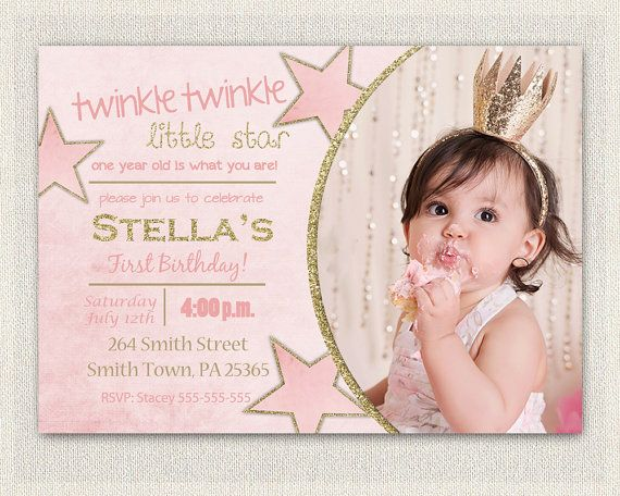 Best Girls First Birthday Invitation Images On Pinterest St - Digital first birthday invitation