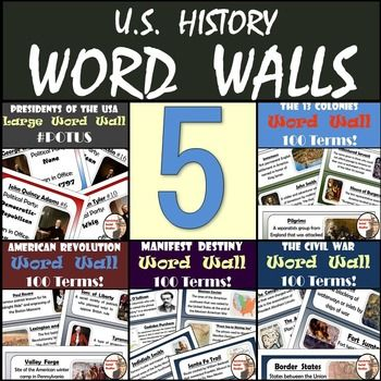 """UNITED STATES HISTORY WORD WALLS.  If you've ever wanted your students to have a visual representation the 13 colonies, American Revolution, Civil War, Manifest Destiny, and Presidents of the United States then you're in the right place!  This """"Word Wall"""" bundle is going to make your classroom/bulletin boards visually appealing and get your students more engaged in their social studies education."""