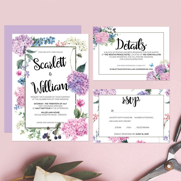 Printable Wedding Invitation - Watercolor Floral Wedding Suite - Elegant Wedding Stationery - Hydrangea Wedding Boho Set - Detail Card RSVP by OnionSisterCreative on Etsy