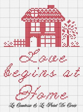 Cross stitch red house