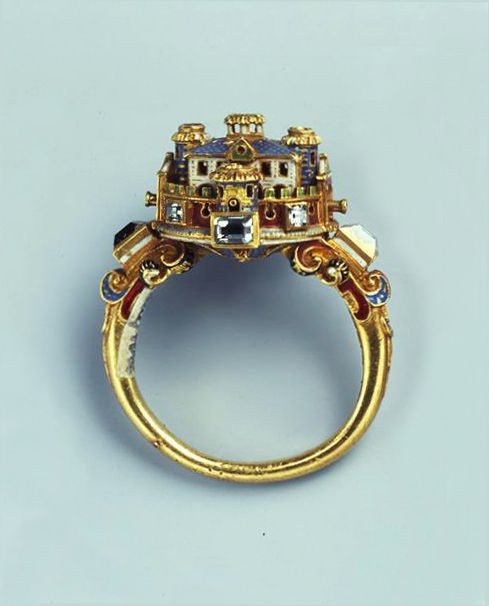 Ring with castle, second half of the 16th century. Probably italian. Gold, diamond, enamel. © Staatliche Kunstsammlungen Dresden