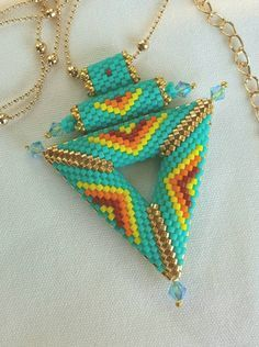 Native American Design Necklace. Seed Bead Necklace. The Pendant Is  Approximately 2 and 1