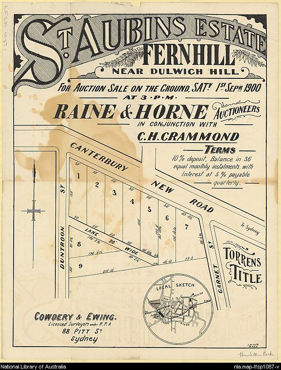 St. Aubins Estate, Fernhill, near Dulwich Hill. Sales plan area bounded by Duntroon and Garnet Streets and Canterbury New Road, Fernhill (now part of Hurlstone Park), New South Wales. Includes local sketch. Courtesy National Library of Australia.