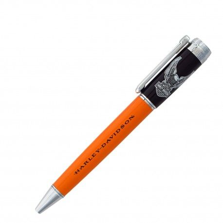 HARLEY-DAVIDSON  Model RHDBP-1750 Sfera twist  Vintage Rider - Black/orange eagle Freedom and adventure are calling your name, do pack your essentials and hit the road. Choose from mid-twist ballpoint designs: the H-D Stealth with all black designs, the Black/Orange Eagle and Harley One with trademark designs. All pens in the collection are 5 inches long and come with a special black and silver H-D package. #harleydavidson #bike #bikers #pen #penemporium  Buy it at www.penemporum.com