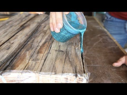 Diy Farmhouse Dining Table W Epoxy Inlays Using Reclaimed
