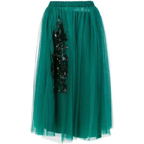 Nº21 embellished tulle midi skirt ($1,080) ❤ liked on Polyvore featuring skirts, green, blue tulle skirt, floral midi skirt, floral skirts, mid length skirts and green skirt