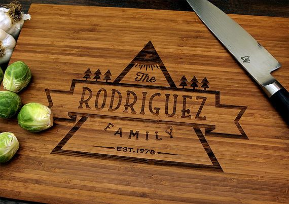Personalized Cutting Board Pictured In Amber Approx. By WoodKRFT, $44.00
