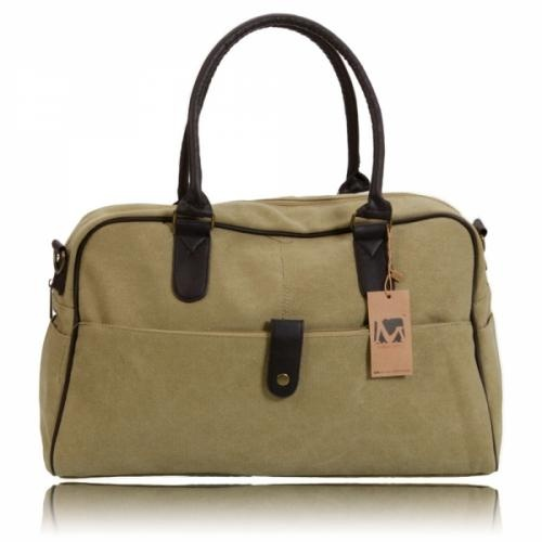 This bag made out of canvas material in khaki, has a unique design that creates an eye-catching visual effect which you can use as a handle bag or a messenger bag.