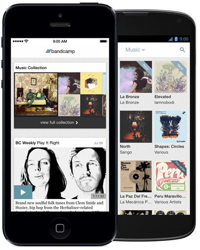 bandcamp app, iOS and Android