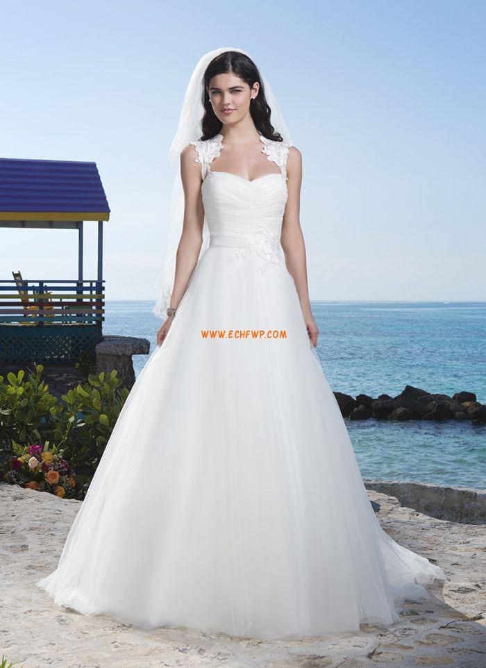 Plage / Destination A-line Appliques Robes de mariée pas cher