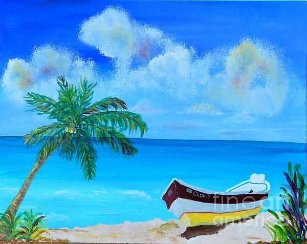 Painting by Christine Dekkers, Skiff by the sea, painted in Cape Coral, Florida  christinedekkersd...