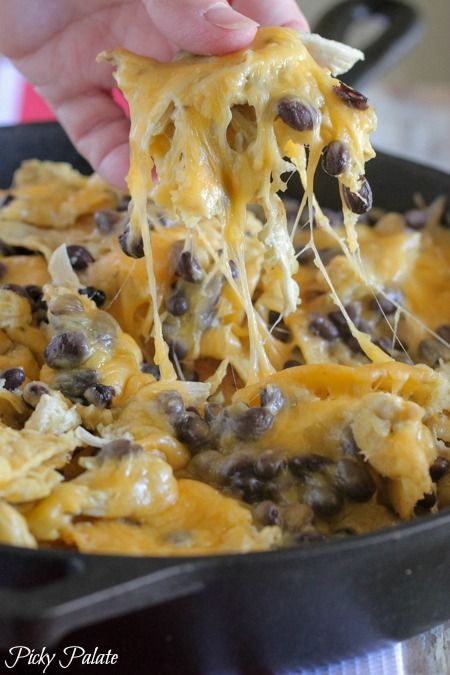 Skillet Nachos with Spicy Salsa Verde Chicken - Picky Palate