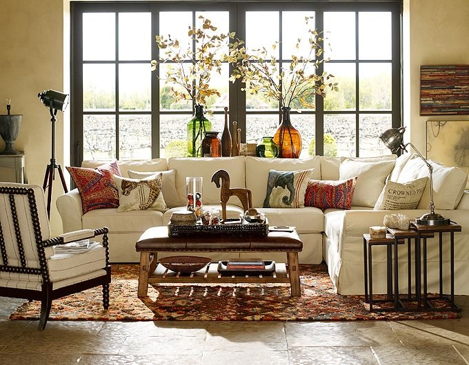 African theme living room african style pinterest furniture ottomans and pottery - Cool pottery barn living room designs ...