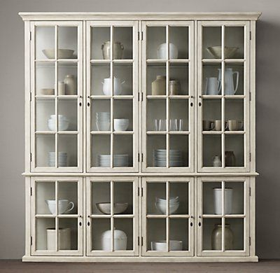RH's Hampton Casement 4-Door Glass Sideboard & Glass Hutch:With glass on three sides and a beautifully weathered finish, our cabinet has an open quality that draws the eye to the objects on display. Divided panes give its doors the look of antique casement windows.