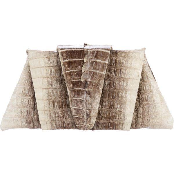 Pre-owned Juliette Jake Crocodile Flap Clutch ($300) ❤ liked on Polyvore featuring bags, handbags, clutches, animal print, croc purse, brown crocodile handbag, croco handbags, crocodile handbags and animal print handbag