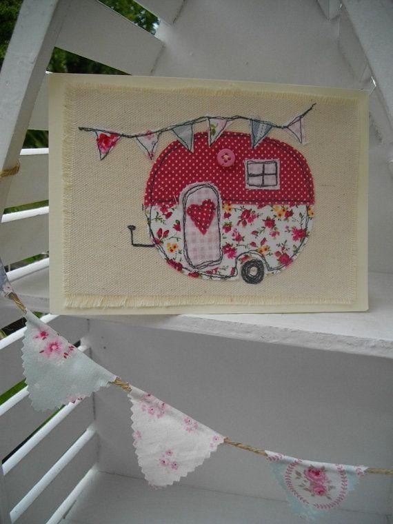Made in EnglandHandade Textile Birthday Card. by TextilesbySuzanne