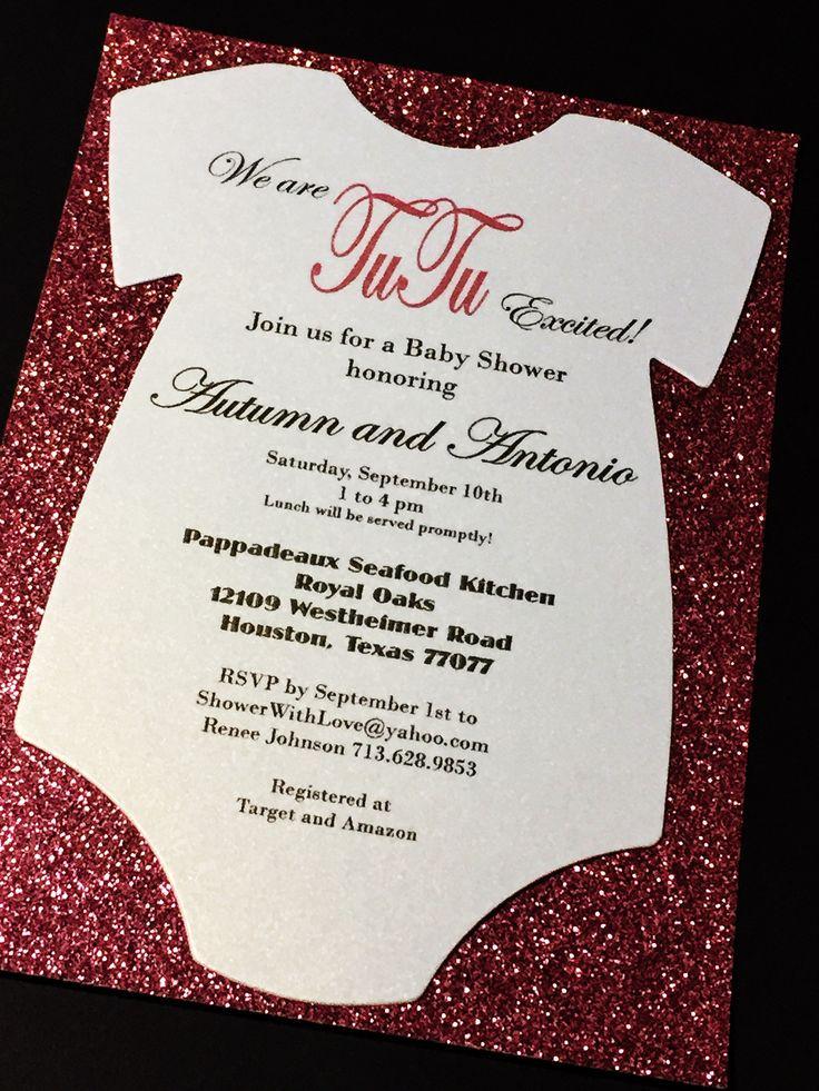 Baby Shower Invitation - Glitter Baby Shower Invitations, Onesie Baby Shower Invitations, Gold, Silver, Die-Cut Invite AUTUMN II