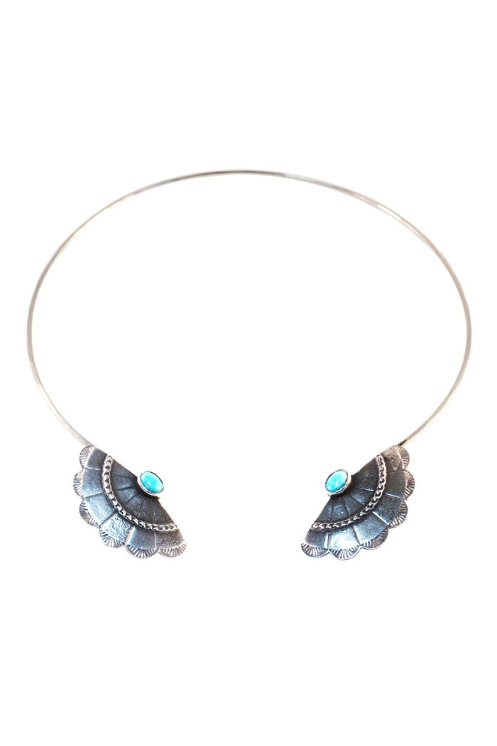 Concho wing choker. Antique silver with turquoise
