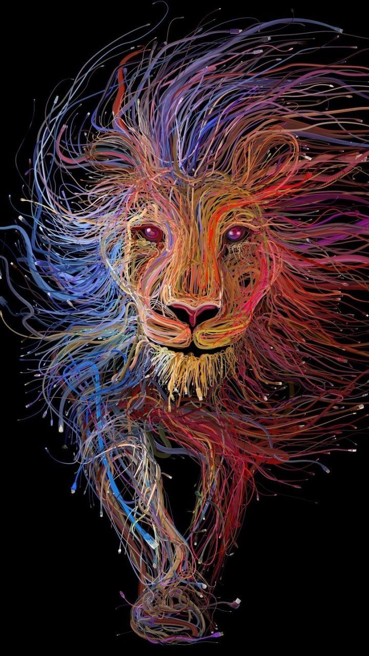Digital Art Cables Lion Colorful 720x1280 Wallpaper Fond D Ecran Lion Les Arts Papier Peint D Art