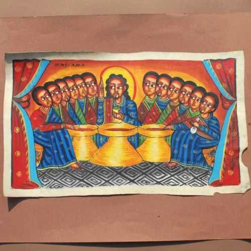 Etiopia-Grande-Dipinto-pittura-sacra-icona-copta-Lultima-cena-Gesu-Arte-Sacra