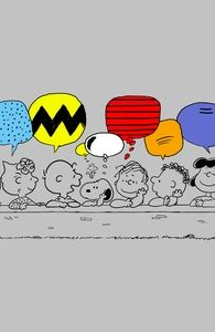 Charlie Brown, Snoopy, and the Peanuts gang with coordinating thought bubbles,❤️❤️