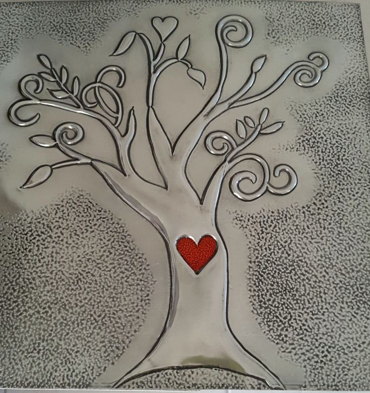 Embossed pewter tree made with glass painted heart made by Jenny @ The Pewter Room