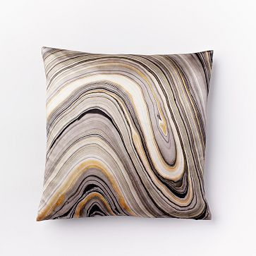 Marble Print Silk Pillow Cover - Feather Gray Sherwin Williams Matches: Mystical Shade, Warm Stone, Bitter Chocolate
