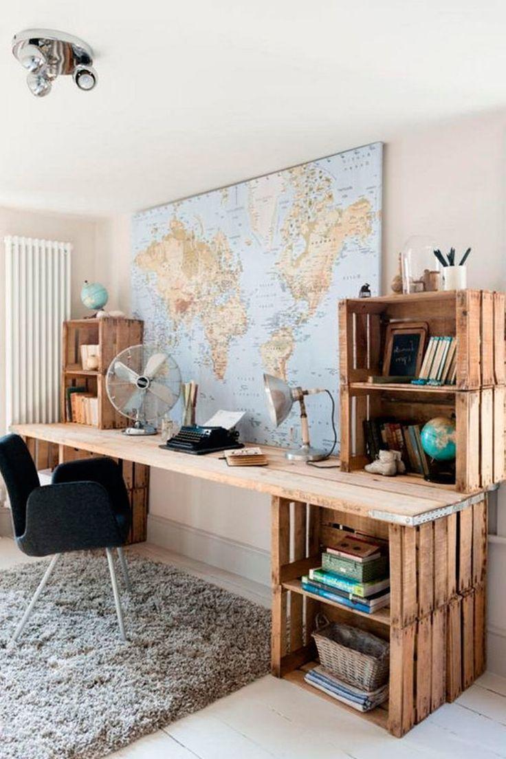 tisch aus paletten büromöbel aus paletten palettenmöbel selber bauen  #bauen …  # Möbel selber gemacht