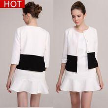 Para mujer chaqueta mujer chaqueta blanca chaqueta de primavera y otoño diseño corto 2016 nueva moda para mujer de la oficina capa alta calidad chaqueta de punto(China (Mainland))
